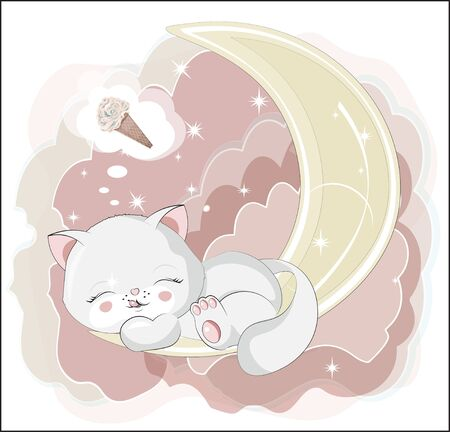 the lovely white honey cat, kitten, sleep and smile, cat with ice cream.  Can be used for t-shirt print, kids wear fashion design, baby shower invitation card.  イラスト・ベクター素材