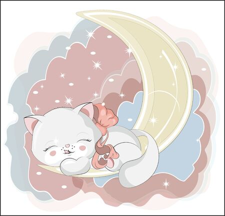 the lovely white honey cat, kitten, sleep and smile, cat on the moon  Can be used for t-shirt print, kids wear fashion design, baby shower invitation card.