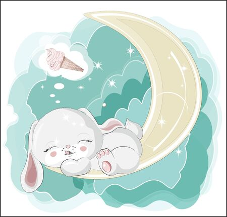 the lovely white honey bunny, rabbit, sleep and smile, cat with ice cream.  Can be used for t-shirt print, kids wear fashion design, baby shower invitation card.  イラスト・ベクター素材