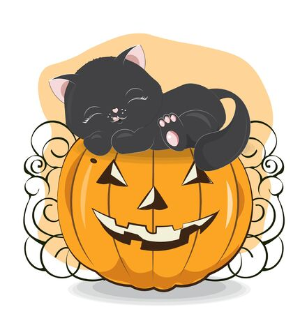 Halloween sleepping black cat on the pumpkin Can be used for t-shirt print, kids wear fashion design, baby shower invitation card