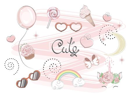 set of kawaii lovely cute things.  Can be used for t-shirt print, kids wear fashion design, baby shower invitation card. Иллюстрация