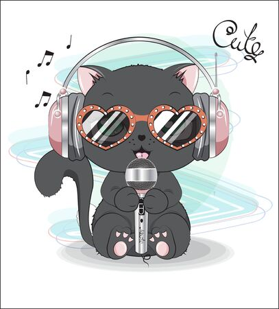 lovely cute black kitten, with the microphone, earphones and sunglasses, sings the song. Can be used for t-shirt print, kids wear fashion design, baby shower invitation card. Иллюстрация