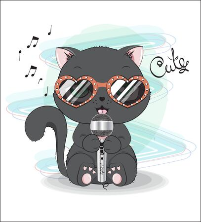 lovely cute black kitten, with the microphone and sunglasses, sings the song. Can be used for t-shirt print, kids wear fashion design, baby shower invitation card. Иллюстрация