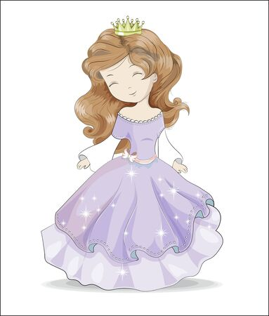 beautiful, charming little princess, with long hair and in a purple ball dress and crown . Can be used for t-shirt print, kids wear fashion design, baby shower, invitation card.