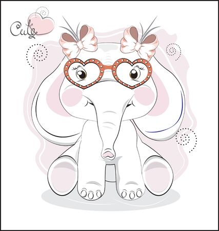 the lovely drawn baby elephant calf, in heart glasses, Happy birthday card