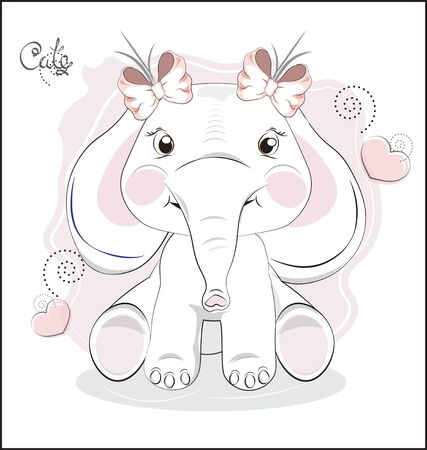 the lovely drawn baby elephant calf, with bow. Can be used for t-shirt print, kids wear fashion design, baby shower, invitation card, Happy birthday card.