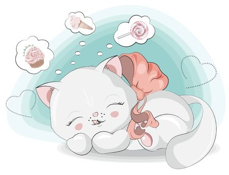 Sweet dreams little sweet teeth, a white kitten, cat girl, about ice cream, cupcake and lollipop.The picture in hand drawing style, can be used  for t-shirt print, wear fashion design, greeting card.  イラスト・ベクター素材