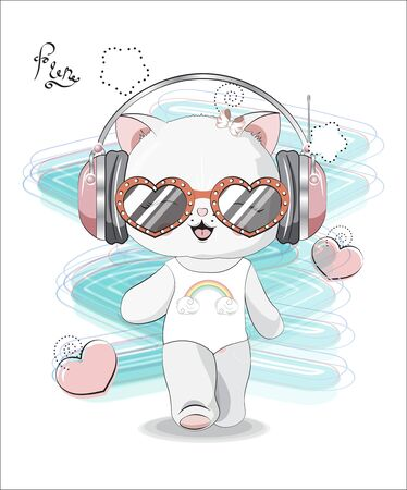 the beautiful girl honey cat, kitten, in a bathing suit, headphones and sunglasses. The picture in hand drawing style, can be used  for t-shirt print, wear fashion design, greeting card. Иллюстрация