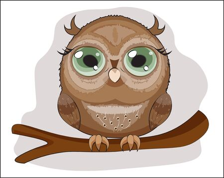 Baby Owl with green eyes, on a branch. The picture in hand drawing cartoon style, can be used for t-shirt print, wear fashion design, greeting card, party invatation Çizim