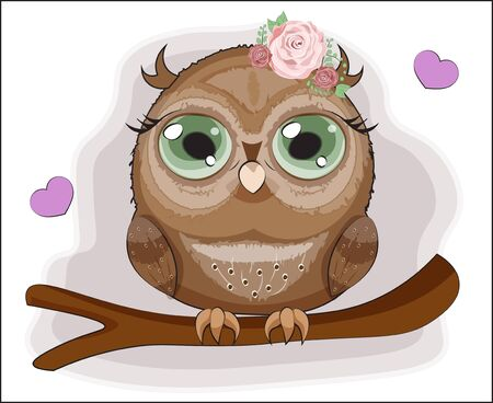 Baby Owl with green eyes, on a branch in pink flower roses. The picture in hand drawing cartoon style, can be used for t-shirt print, wear fashion design, greeting card, party invitation