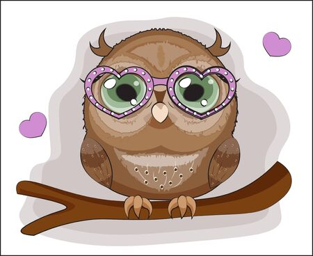 Baby Owl with green eyes, on a branch in pink heart glasses. The picture in hand drawing cartoon style, can be used for t-shirt print, wear fashion design, greeting card, party invitation Çizim