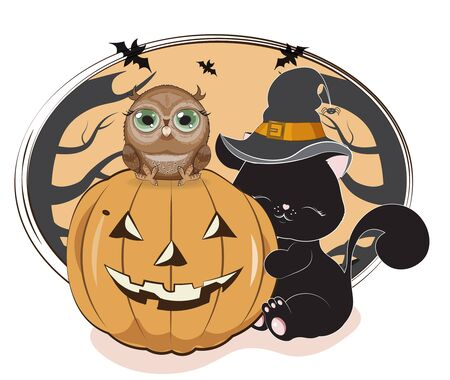 the lovely black cat, owl, kitten, in the witch hat with a spider, embraces pumpkin, the Halloween drawing
