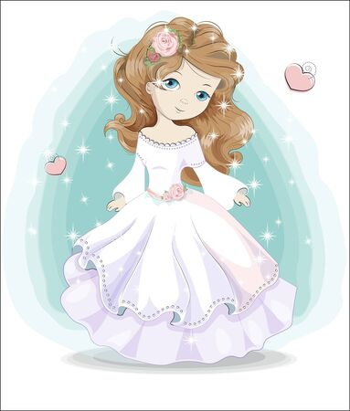 beautiful, charming little princess,  in white wedding dress and flower. The picture in hand drawing style, can be used for t-shirt print, wear fashion design, greeting card.