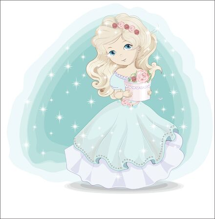beautiful, charming blonde little princess in blue dress with gift. The picture in hand drawing style, Happy birthday card.  イラスト・ベクター素材