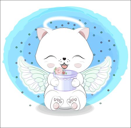 lovely cute white angel kitten little kitten wifh gift.  Happy birthday greeting card Ilustração