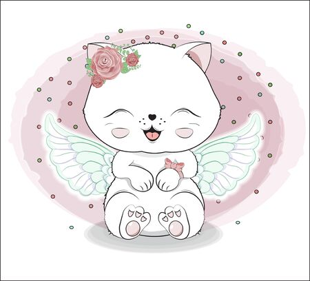 lovely cute white angel kitten little kitten Happy birthday greeting card