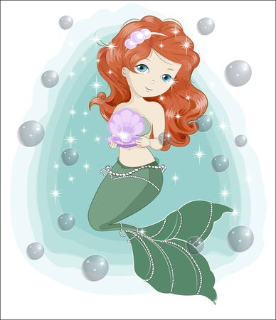 beautiful, charming little mermaid princess with gift. The picture in hand drawing style, Happy birthday card. Ilustração