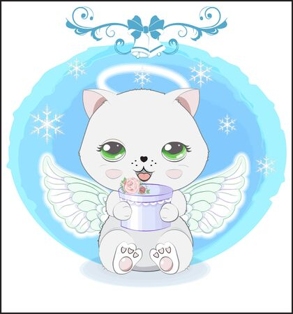 lovely cute white Christmas cat angel,  little kitten with gift. The picture in hand drawing style
