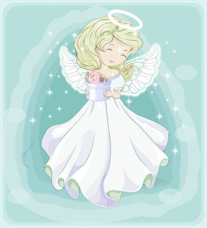 beautiful, charming little princess blonde, Christmas angel, in white dress with gift. The picture in hand drawing style, Holiday and  Greeting card. Ilustração