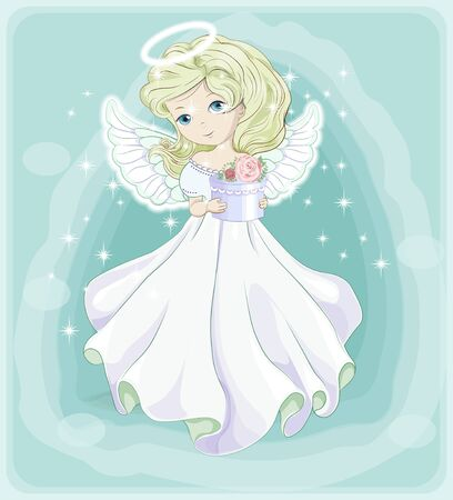 beautiful, charming little princess blonde, Christmas angel, in white dress with gift. The picture in hand drawing style, Holiday and  Greeting card. Çizim
