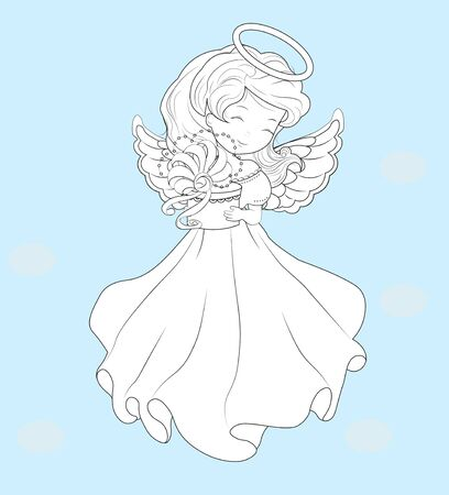 Coloring book, beautiful, charming little girl, Christmas angel, in white dress with gift. The picture in hand drawing style, Holiday and Greeting card.  イラスト・ベクター素材