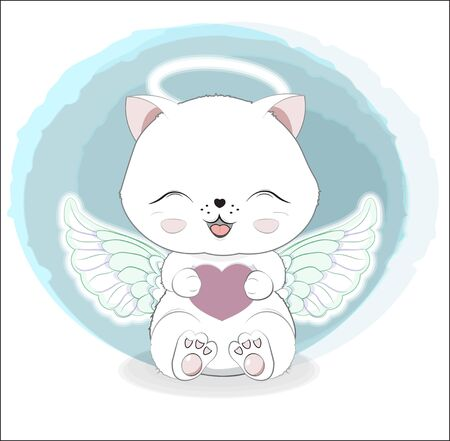 lovely cute white angel kitten little kitten wifh heart. Valentines Day card. The picture in hand drawing style, can be used for party invitation, greeting card, t-shirt print, fashion design  Ilustração