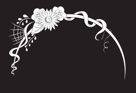 arch element with flowers and tapes, white on a black background  イラスト・ベクター素材