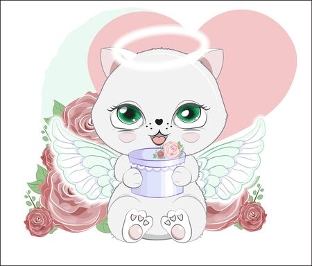 lovely cute white angel kitten little kitten wifh gift in rose. The picture in hand drawing style, can be used for t-shirt print, wear fashion design, greeting valentine card.