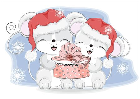Happy new year two little mouses, in Santa cap, with a gift in hands, in environment of snowflakes  Picture in hand drawing style. Mouse, rat, symbol of New year 2020. Merry Christmas, holiday card.  イラスト・ベクター素材