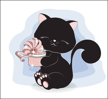 lovely black cat, kitten with gift box, decorated with bow. The picture in hand drawing style, can be used for t-shirt print, wear fashion design, greeting card, baby shower. Illusztráció