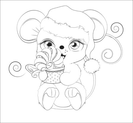 Coloring book Happy new year little mouse, in Santa cap, with a gift in hands, in environment of snowflakes  Picture in hand drawing style. Mouse, rat, symbol of New year 2020. Merry Christmas, holida