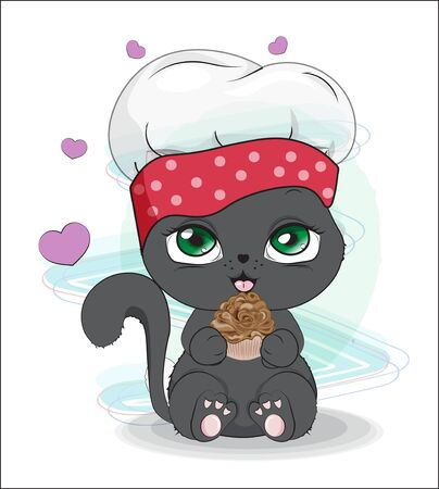 cook cat with cupcake. The picture in hand drawing style, can be used for t-shirt print, wear fashion design, greeting card. baby food menu  イラスト・ベクター素材