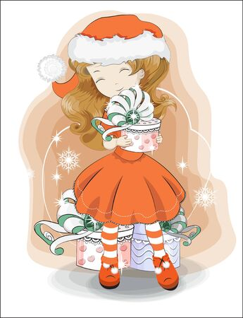 Christmas, New year little girl in Santa Claus costume, with red hat and a white pompon with gift. Picture in hand drawing style, for party invitation, greeting card. Ilustracja