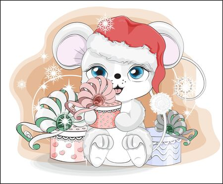Happy new year little mouse, in Santa cap, with a gift in hands, in environment of snowflakes  Picture in hand drawing style. Mouse, rat, symbol of New year 2020. Merry Christmas, holiday card.