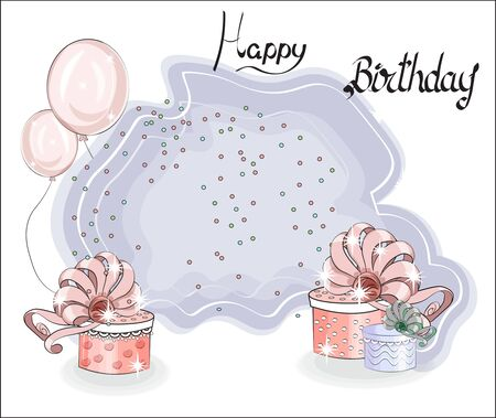 cute birthday card background. with gift. confetti and balloon, Happy birthday greeting card