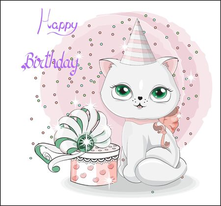 white cat in birthday hat, kitten with gift box, decorated with bow. The picture in hand drawing style, for Happy birthday greeting card.