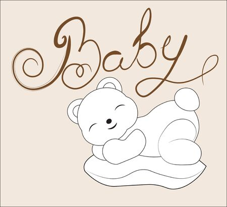 Coloring book sleeping teddy bear on pillow. The picture in hand drawing style