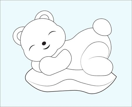 - Coloring Book Sleeping Teddy Bear On Pillow. The Picture In Hand.. Royalty  Free Cliparts, Vectors, And Stock Illustration. Image 132060527.