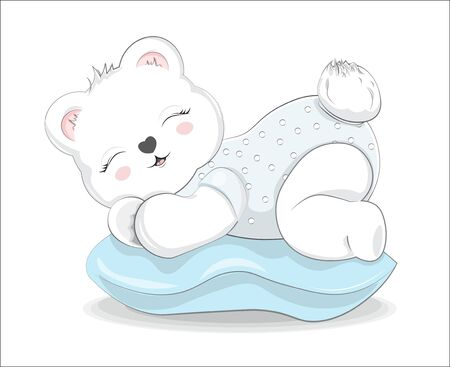 sleeping boy baby teddy bear on pillow. Picture in hand drawing style for baby shower. Greeting card, party invitation, fashion clothes print Stok Fotoğraf - 132124794