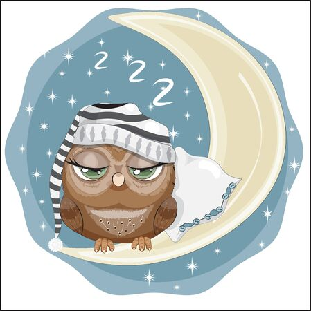 fairy tale Owl with green eyes in cap, sleep on the moon in night sky. Picture in hand drawing cartoon style, for t-shirt print, wear fashion design, greeting card, party invitation Ilustracja