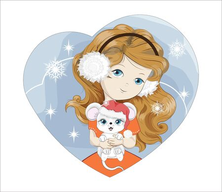 Heart Christmas, New year little girl in Santa Claus costume, with white fur headphones with mouse. Picture in hand drawing style, for party invitation, greeting card.