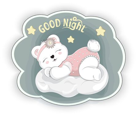 good night sticker. sleeping girl baby teddy bear on cloud. Picture in hand drawing style.