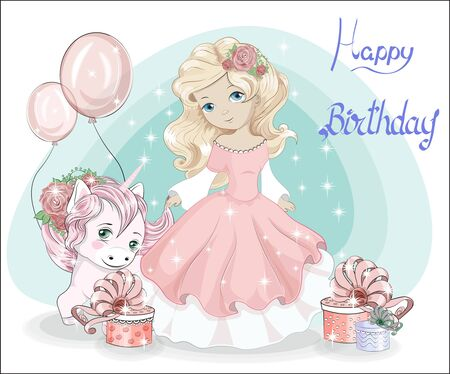 beautiful blonde little princess, with long hair in pink ball dress and unicorn.  Picture in hand drawing style, for Happy birthday greeting card. Иллюстрация
