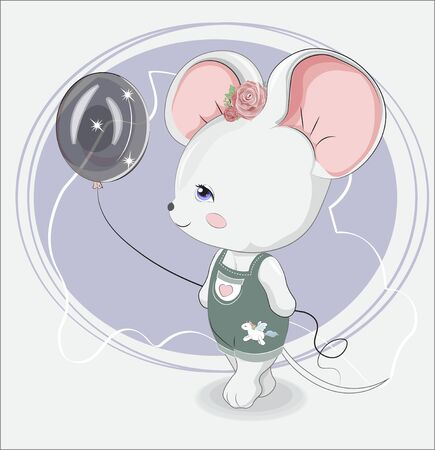 Little girl mouse with balloon in jeans with unicorn sticker. Picture in hand drawing style, for t-shirt wear fashion print design, greeting card, baby shower. party invitation. Ilustração