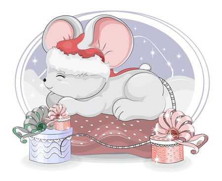 sleepping mouse. baby rat. symbol 2020 year in Santa cap, in pillow. Picture in hand drawing cartoon style, for Christmas or New year greeting card, party invitation Ilustração