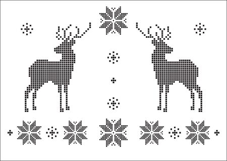 black snowflakes, flowers and deer, of a jacquard geometric pattern style. Picture in hand drawing style for wear print pattern, greeting New Year and Christmas cards.