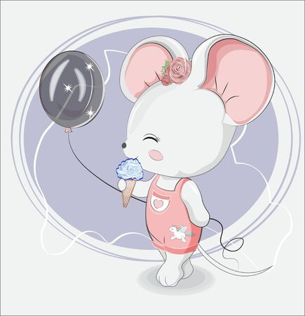 Little girl mouse with balloon and ice cream in jeans with unicorn sticker. Picture in hand drawing style, for t-shirt wear fashion print design, greeting card, baby shower. party invitation. Ilustração