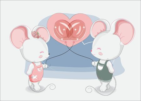 Little mouses couple boy and girl with balloons in jeans. Picture in hand drawing style, for t-shirt wear fashion print design, greeting. Valentines Day card, party invitation.