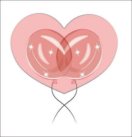 Pink balloons in front of pink heart, adorable cute love symbol. Picture in hand drawing cartoon style, for t-shirt wear fashion print design, greeting. Valentines Day card, party invitation. Ilustração