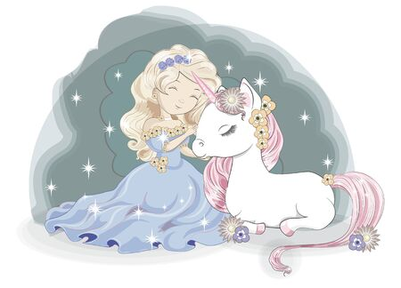 princess girl blonde and Magic white unicorn, in flower garden. Picture in hand drawing style,  for t-shirt wear fashion print design, greeting birthday card. postcard, baby shower. party invitation. Ilustração